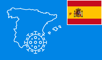 Spain flag with country outline and corona virus icon on blue background