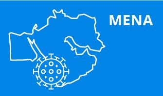 MENA region outline with blue background