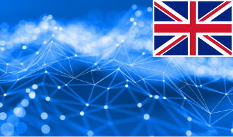 blue background with a graphic of a showing a network with a UK flag in the top right