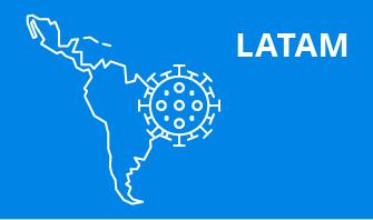 LATAM Latin America region outline with blue background