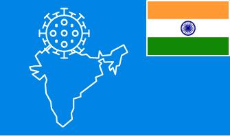 India flag with country outline and corona virus icon on blue background