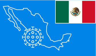 Mexico flag with country outline and corona virus icon on blue background