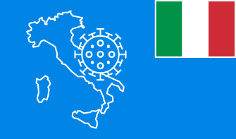 Italy flag with country outline and corona virus icon on blue background