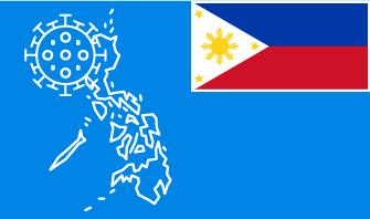 Philippines flag with country outline and corona virus icon on blue background