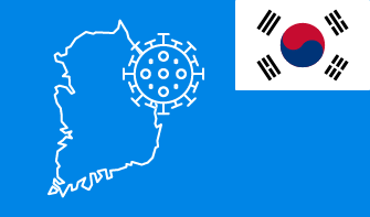 South Korea flag with country outline and corona virus icon on blue background