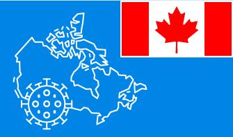Canada flag with country outline and corona virus icon on blue background