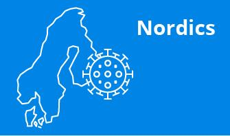 Nordics  region outline with blue background