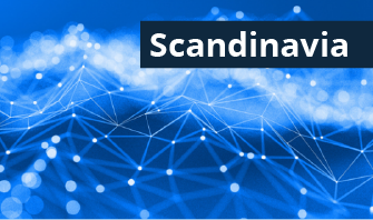 blue background with a graphic of a network with the word Scandinavia in the top right