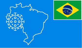 Brazil flag with country outline and corona virus icon on blue background