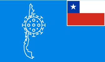 Chile flag with country outline and corona virus icon on blue background