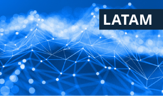 blue background with a graphic of a network with the word LATAM in the top right
