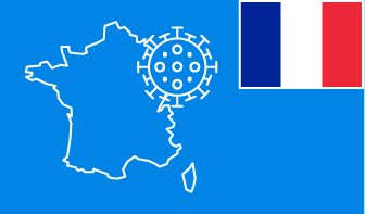 France flag with country outline and corona virus icon