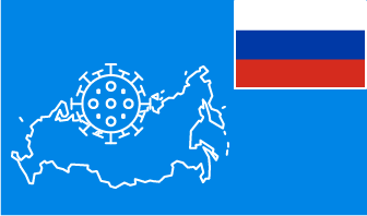 Russia flag with country outline and corona virus icon on blue background