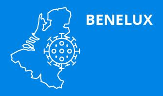 Benelux region outline with blue background