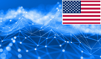blue background with a graphic of a network with an usa flag in the top right