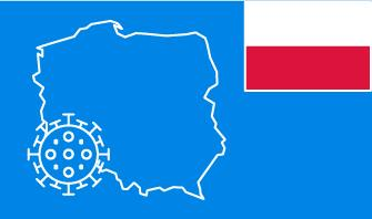 Poland flag with country outline and corona virus icon on blue background