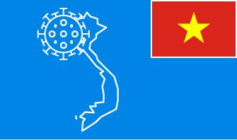 Vietnam flag with country outline and corona virus icon on blue background