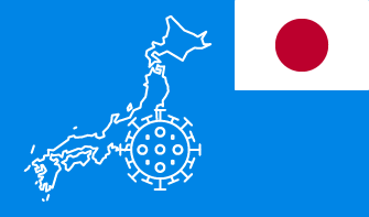Japan flag with country outline and corona virus icon on blue background