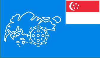 Singapore flag with country outline and corona virus icon on blue background