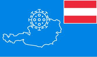 Austria flag with country outline and corona virus icon on blue background