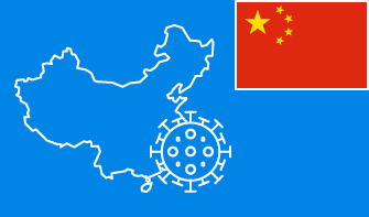 China flag with country outline and corona virus icon on blue background