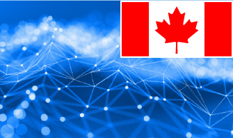 blue background with a graphic of a network with a Canada flag in the top right