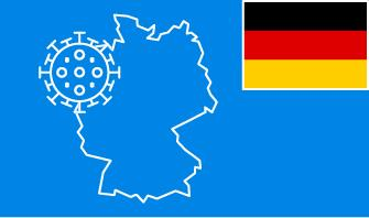 Germany flag with country outline and corona virus icon on blue background