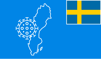 Sweden flag with country outline and corona virus icon on blue background