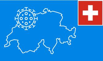 Switzerland flag with country outline and corona virus icon on blue background